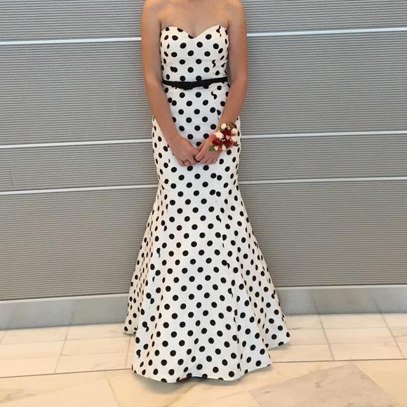 7dd7b99ad5ce7 La Femme Dresses | Polka Dot Sleeveless Mermaid Style Prom Dress ...